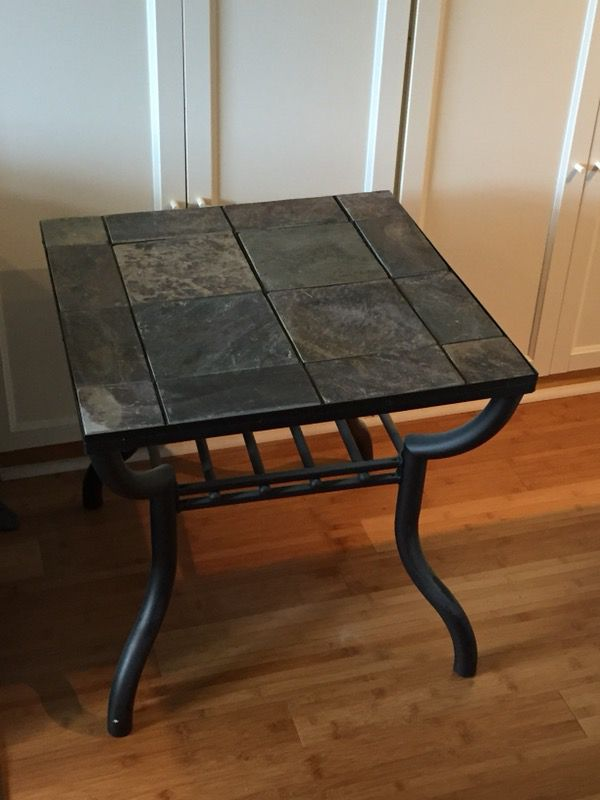 Slate tile and metal end table Furniture in Bellevue NE