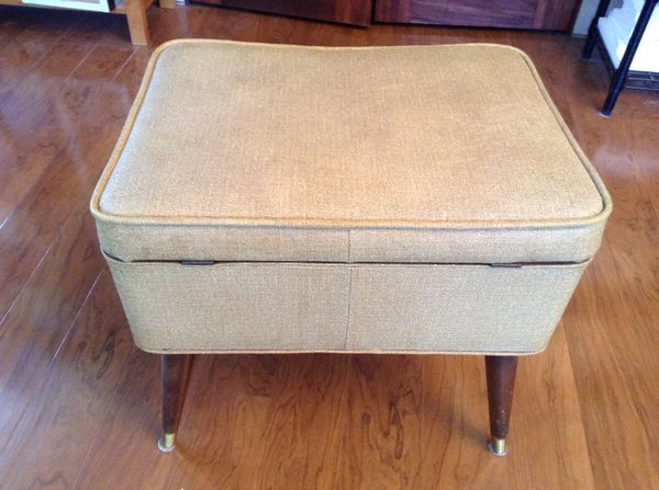 Vintage mid century mcm sewing seat bench with storage for Furniture bremerton