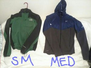 Men's jackets. Northface and Nike.