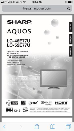 52 inch Sharp tv