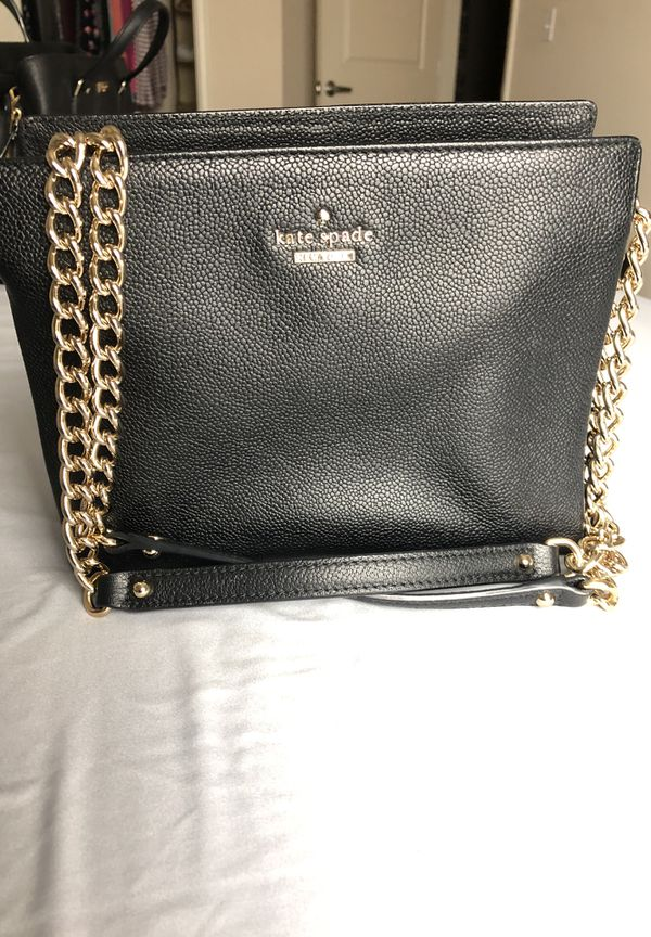 Kate spade adorable like new black leather handbag includes gold kate spade adorable like new black leather handbag includes gold chain shoulder strap pink kate spade polka dot lining on inside junglespirit Image collections