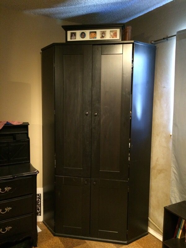 Black Corner Armoire From Ikea Furniture In San Jose Ca