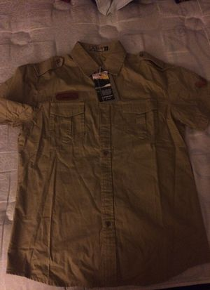 Brand New Niam khaki denim shirt sleeve shirt
