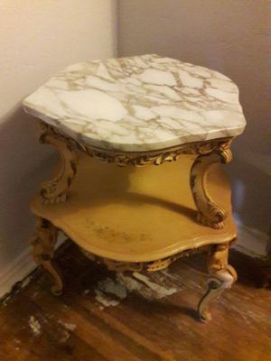 Antique table with marble top