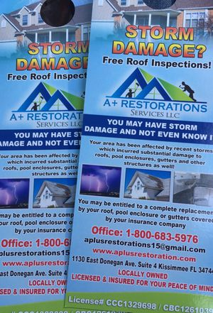 STORM DAMAGE? FREE ROOF INSPECTIONS !