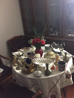 Various dishes and decorations items for sell