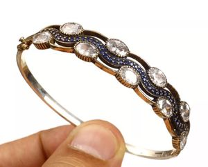 925 Sterling Silver, Turkish Sapphire Topaz, Bangle Bracelet