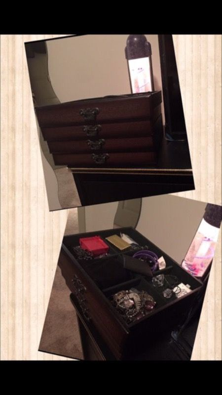 Vanity Jewelry Armoire Dresser Cabinet Stand 4 Drawer Storage Box