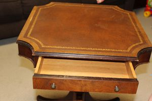 Antique leathertop table