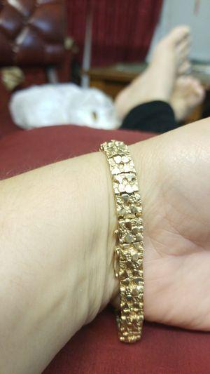 14k gold mens nugget bracelet