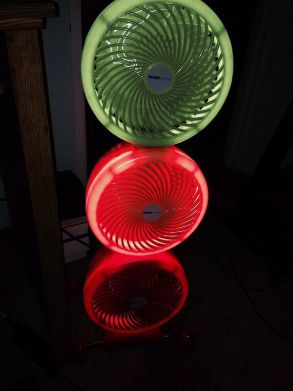 Landia Home Lighted 3 Fans On Wheels Household In