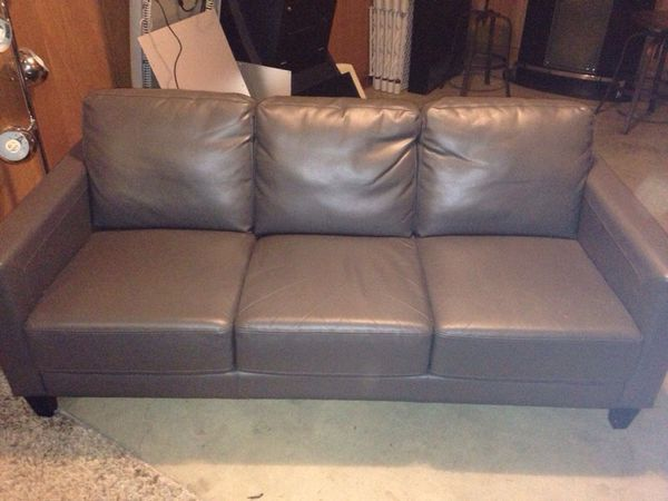 dania grey leather sofa couch really nice furniture in seattle