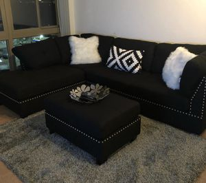 Brand New Black Linen Sectional Sofa + Ottoman
