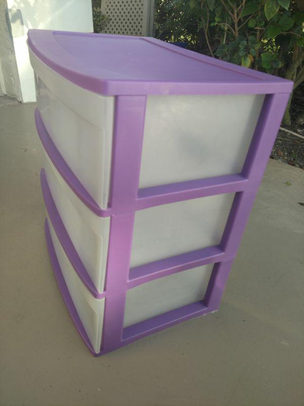 Three Tier Purple Plastic Drawer Set Household In Boca