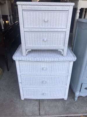 White wicker dresser chest of drawers and night stand