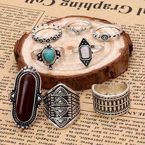8 Piece Silvertone Boho Style Midi Ring Set