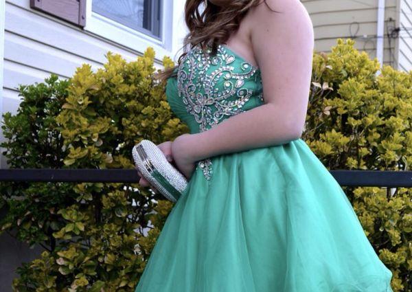 Junior prom dress aquatic green beautiful stones and gems on it ...