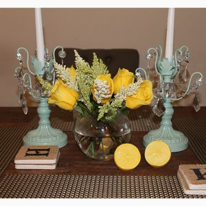 Two Gorgeous turquoise candelabras
