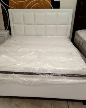 Brand new queen size white platform bed frame and a mattress