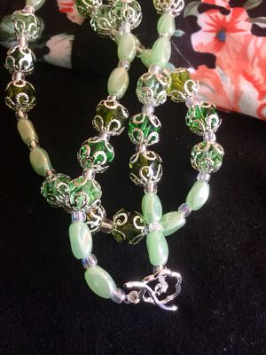 Fashion Jewelry / Soft green and silver with glass and crystal beads necklace / Silver Toggle clasp New Jewelry