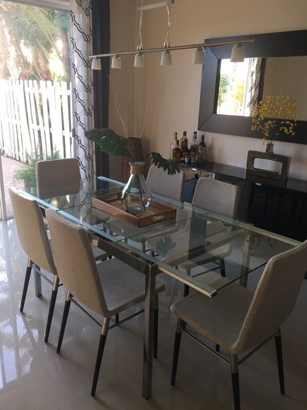 Ikea Glivarp Dining Table Chrome Glass Expandable 4 6 Chairs Furniture In Miami Fl Offerup