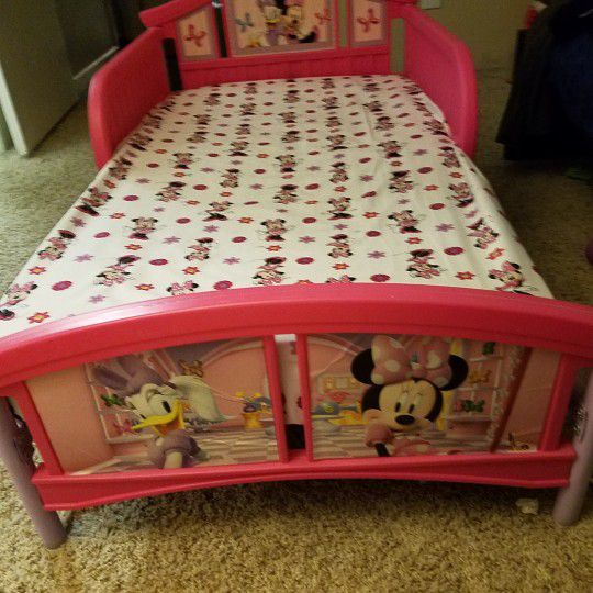 Disney Minnie Mouse Plastic Toddler Bed With Dream On Me Orthopedic Firm Foam Crib Mattress Furniture In Denver CO