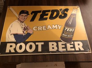 "Ted Williams ""Ted's Root Beer"" Metallic Reprint Sign! 15"" long by 10"" High!"