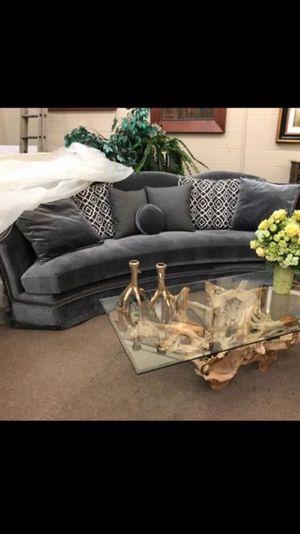 Grayish blue velvet sofa. New