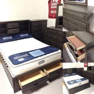 Queen Size Platform Storage Bed - Reclaimed Grey