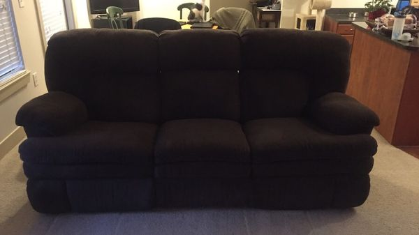 Chocolte Brown 3 Seat Sofa With Double Recliners Furniture In