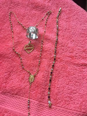 Bendo un rosario 14k una pulsera de 10k y un anillo de 10k con prata 925 y un fijen de14k todo por