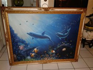 Original sea life with gold crackle frame 45 in in height 54 in in width
