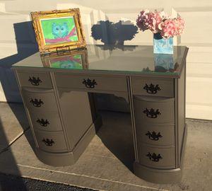 Antique mahogany slate gray chalk paint double pedestal desk w/ glass top
