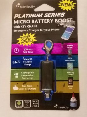 Battery booster keychain for phone/tablet
