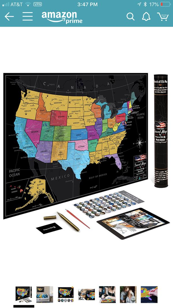 US Map w Scratch Off Ink by VespucciWorld 24x17 Glossy Laminated