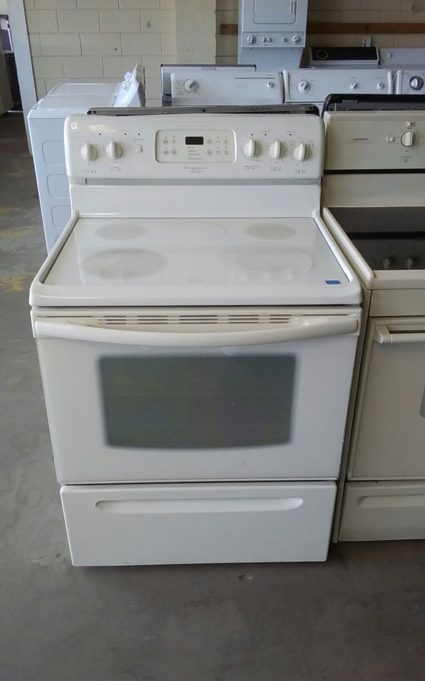 White Frigidaire Gallery Series Glass Top Stove Appliances in