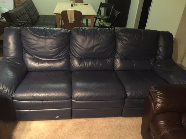 Used blue leather sofa
