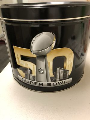 Super Bowl 50 Commemorative Popcorn Can! Peyton Manning & The Denver Broncos Win over Carolina! Peyton's Final Game! Popcorn is all gone! The Logo an
