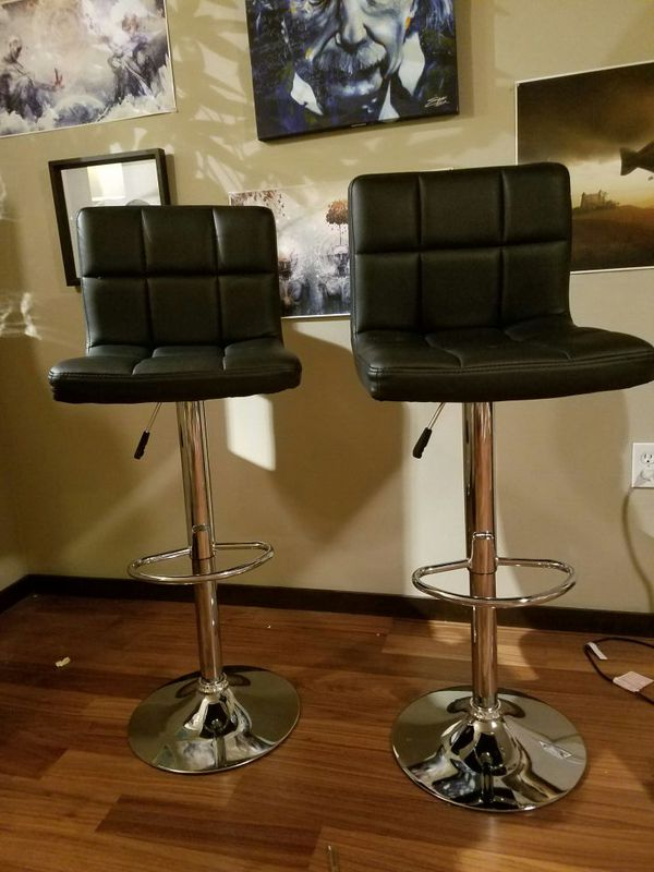 2 Black Leather Adjustable Bar Stools Furniture In