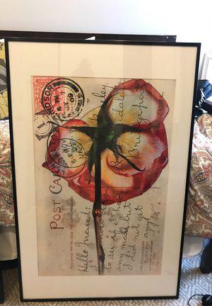 Large framed floral art