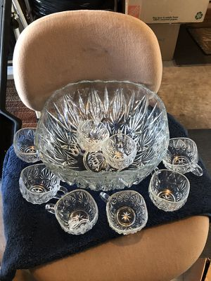 Crystal punch bowl set