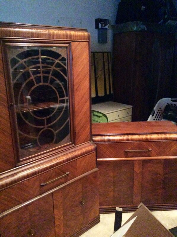1940's antique Waterfall buffet & China cabinet with hutch ...