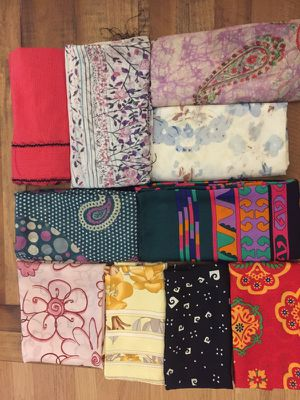 10 assorted scarves from China, India and Thailand