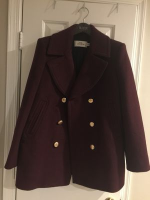 75th icon burgundy peacoat heavy wool