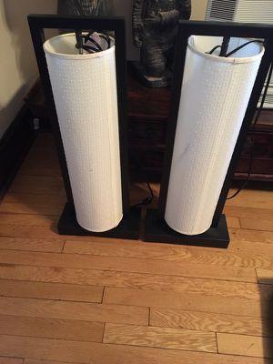 Pair Storehouse cylindrical lamps 13in W x 5in D x 30in H
