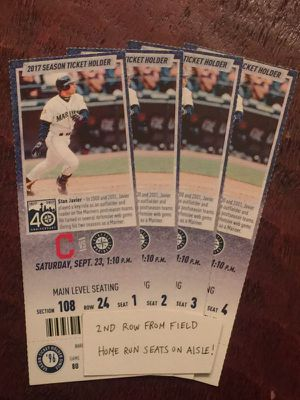 Mariners tickets vs Cleveland - 2nd row from field on aisle - 9/23