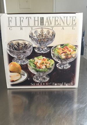 """Fifth Avenue Crystal Set of 4 , 4 1/2"""" Footed Bowls"""