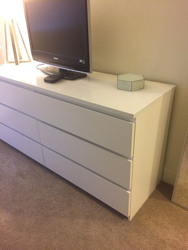 Ikea malm 6 drawer dresser white furniture in san jose ca for Malm kommode weiay