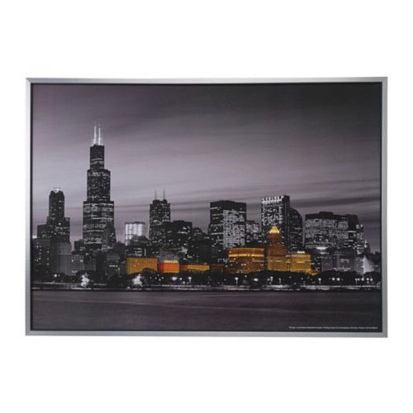 Chicago Skyline Large Framed Canvas Picture Wall Art