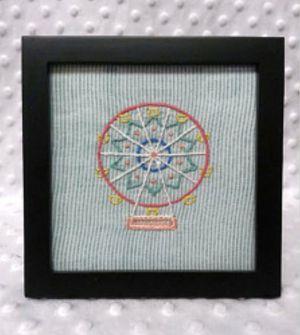 5x5 framed handmade embroidered art ferris wheel circus carnival